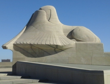 At the World War I Memorial in Kansas City, an Assyrian Sphinx shields its eyes from the war horrors.